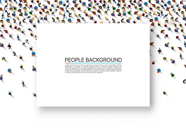 Folha de papel branca sobre um fundo com as pessoas. ilustração vetorial.