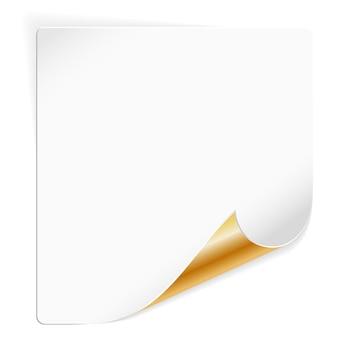 Folha de papel branco com canto dourado curvo, ilustração vetorial