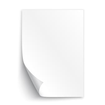 Folha de papel branco. ilustração.