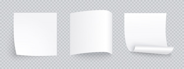 Folha de papel branco nota definida com sombra diferente. postagem em branco para mensagem, lista de afazeres, memória. conjunto de notas auto-adesivas isoladas em transparente.