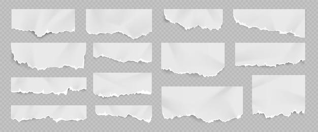Folha de papel branco rasgado e rasgado realista com dobras. página do caderno com borda de sucata. rasgue pedaços de documentos em branco e observe o conjunto de vetores de fragmentos. fragmentos danificados e rachados para avisos