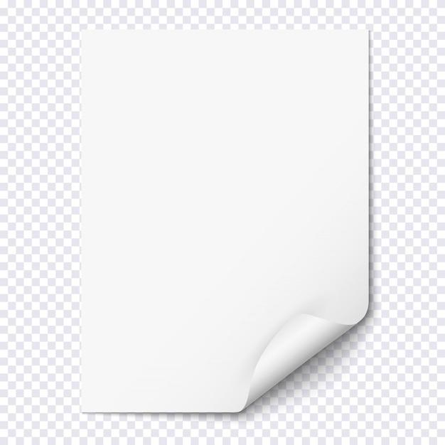 Folha de papel branco vazio com canto enrolado