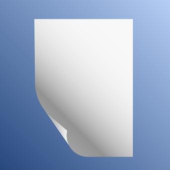 Folha de papel com borda curva