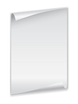 Folha de papel com cantos enrolados
