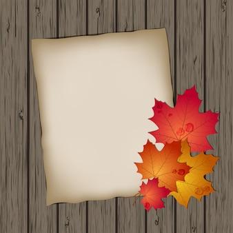 Folha de papel com folhas de outono na textura de fundo de madeira. ilustração