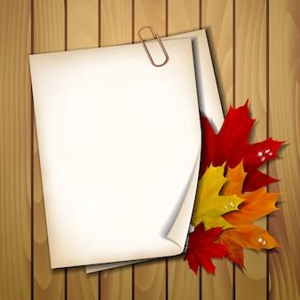 Folha de papel com folhas de outono