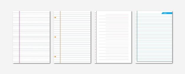 Folha de papel de caderno amassada coleção de diário a4
