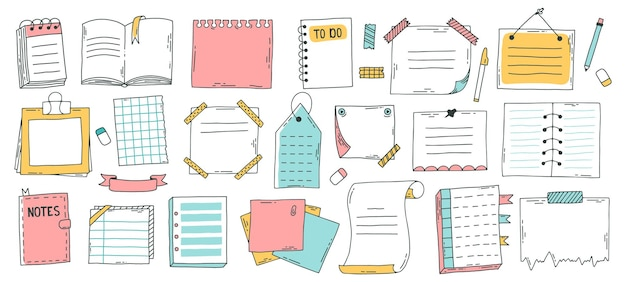 Folha de papel do doodle. caderno de esboço desenhado de mão, folhas de diário com marcadores, nota auto-adesiva e página do bloco de notas. conjunto de folhas de doodle de esboço. informações do caderno, marcador de mensagem de lembrete