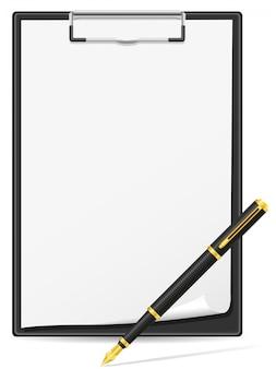 Folha de papel e caneta em branco da área de transferência