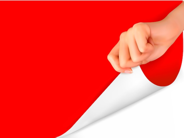 Folha de papel em branco com a mão