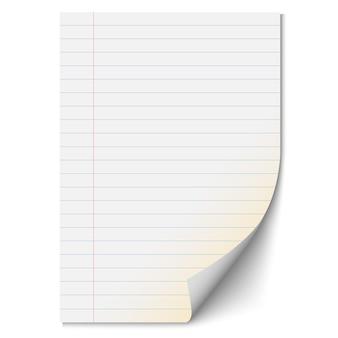Folha de papel em branco com linhas
