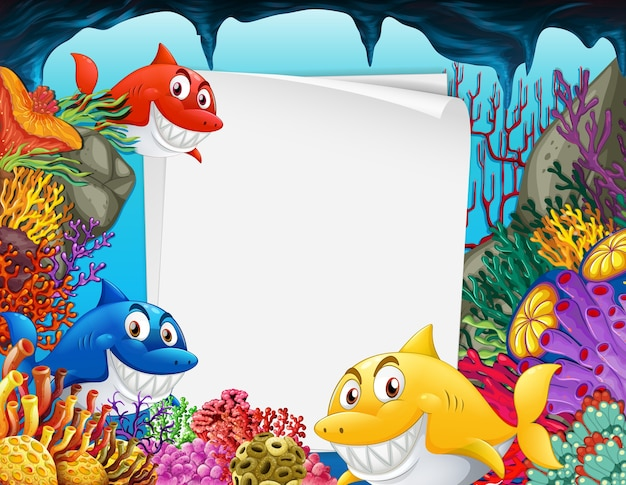 Folha de papel em branco com muitos personagens de desenhos animados de tubarões na cena subaquática