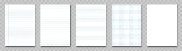 Folha de papel em branco. conjunto de papel pautado.