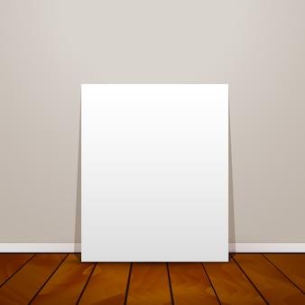Folha de papel em branco no fundo da parede e piso de madeira