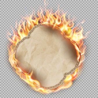 Folha de papel em chamas.