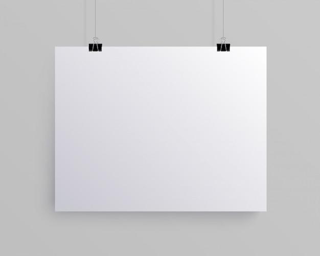 Folha de papel horizontal em branco branca, mock-up