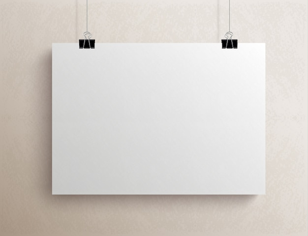 Folha de papel horizontal em branco branca