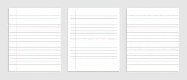 Folha de papel inglês de quatro linhas de caderno