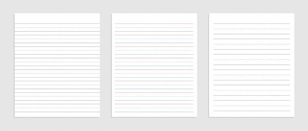 Folha de papel inglês de três linhas de caderno