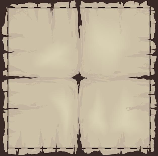 Folha de papel ou mapa escuro e velho danificado