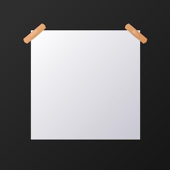 Folha de papel quadrada branca em branco, mock-up