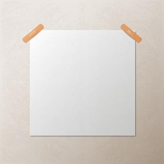 Folha de papel quadrada branca em branco, modelo vector