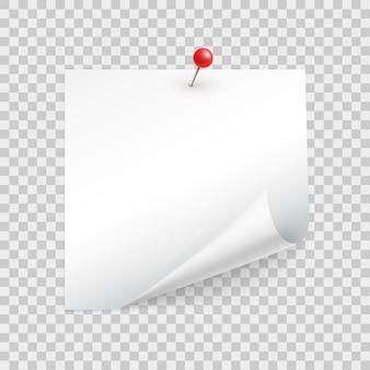 Folha de papel quadrada com pinos de canto enrolados com um alfinete realista