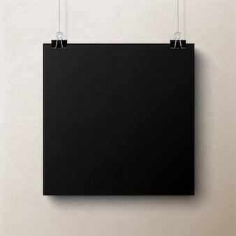 Folha de papel quadrada em branco preta