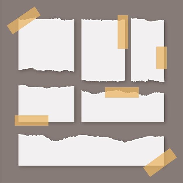Folha de papel rasgada com adesivo