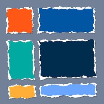 Folha de papel rasgada definida em formas quadradas e retangulares
