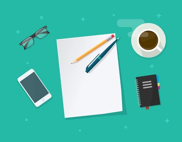 Folha de papel vazia com caneta na mesa de trabalho