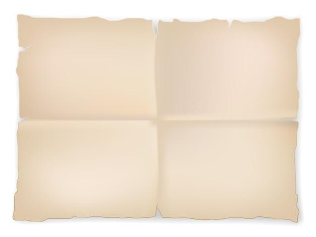 Folha de papel velha enrugada da sucata no fundo branco. vetor