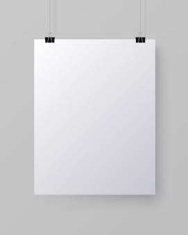 Folha de papel vertical em branco branca, mock-up