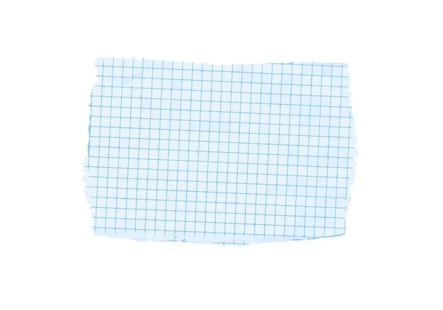 Folha de papel vetorial de escala de grade azul isolada no fundo branco