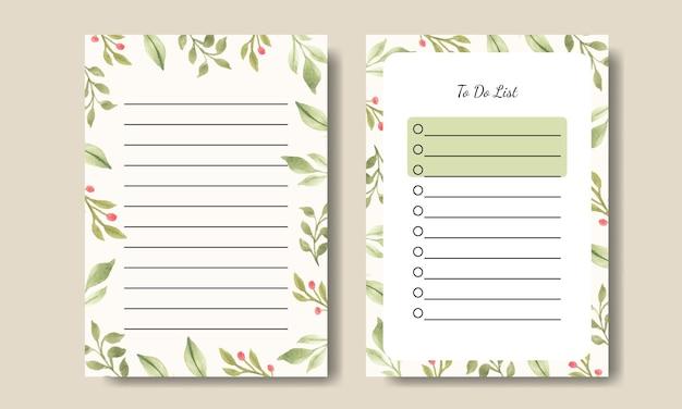 Folha de planta verde em aquarela notas de tarefas design de modelo de lista para impressão