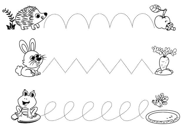Folha de prática de caligrafia em preto e branco traçando linhas para crianças em idade pré-escolar aprendendo a desenhar