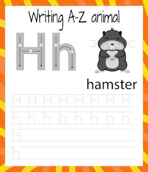 Folha de prática de caligrafia. escrita básica. jogo educativo para crianças. aprender as letras do alfabeto inglês para crianças. escrevendo a letra h