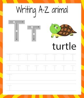 Folha de prática de caligrafia. escrita básica. jogo educativo para crianças. aprender as letras do alfabeto inglês para crianças. escrevendo a letra t