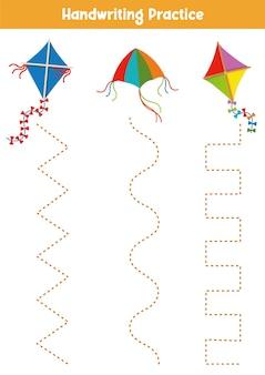 Folha de prática de caligrafia jogo educativo para crianças ilustração vetorial