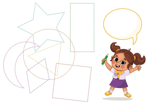 Folha de prática de escrita à mão jogo educativo para crianças atividade infantil aprendizagem de formas