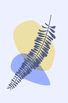 Folha de samambaia em estilo boho arte de moda abstrata minimalista para design de cartão de t-shirt.