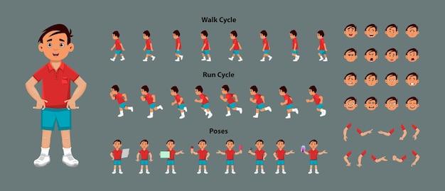Folha de sprite de personagem de menino bonito com ciclo de caminhada e sequência de animação de ciclo de execução. personagem de menino fofo com diferentes poses