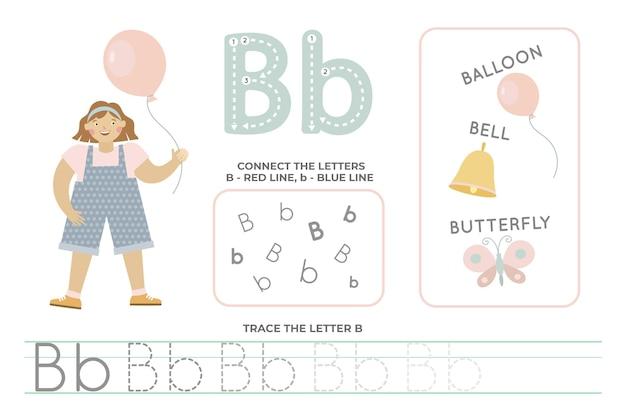 Folha de trabalho alfabética com a letra b
