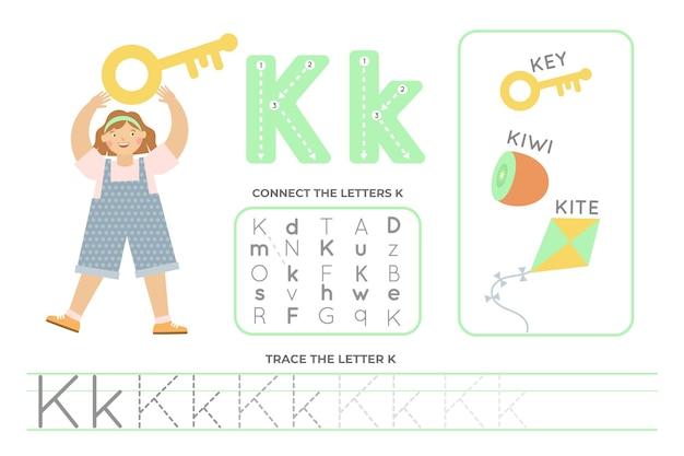 Folha de trabalho alfabética com a letra k
