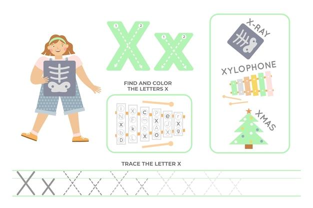 Folha de trabalho alfabética com a letra x