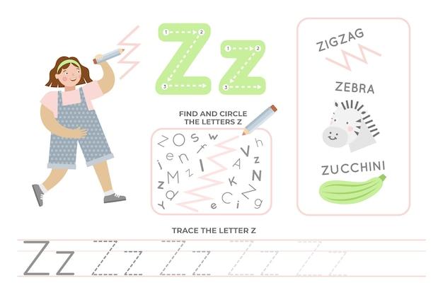 Folha de trabalho alfabética com a letra z
