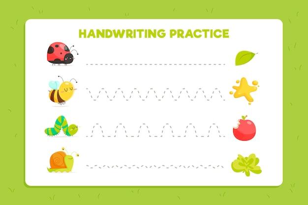 Folha de trabalho bonita de prática de caligrafia para crianças