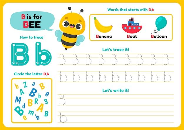 Folha de trabalho da letra b com abelha