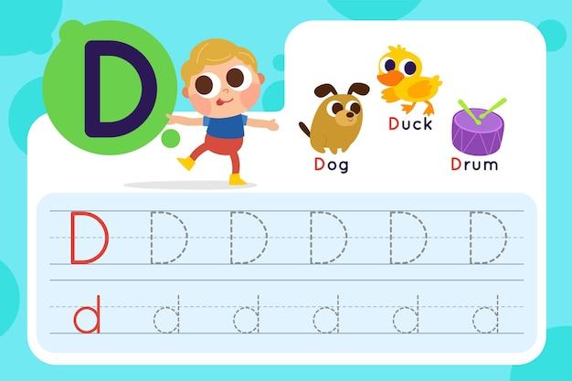 Folha de trabalho da letra d com cachorro e pato