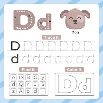 Folha de trabalho da letra d com cachorro
